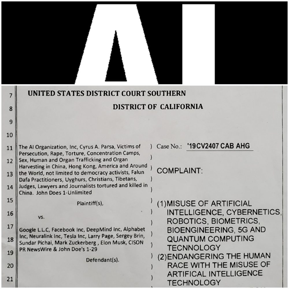 Google, Facebook, Neuralink Sued for Weaponized AI Tech Transfer, Complicity to Genocide in China and Endangering Humanity with Misuse of AI - THE AI ORGANIZATION